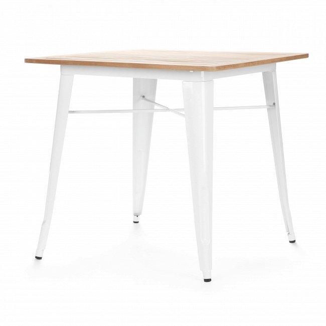 Обеденный стол Marais из стали со столешницей из тикового дерева