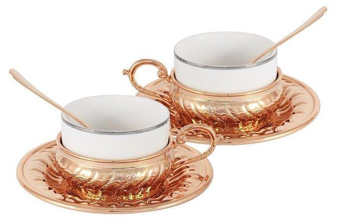 """Чайный набор на 2 персоны Гамма """"Stradivari"""" с отделкой под розовое золото в подарочной коробке"""