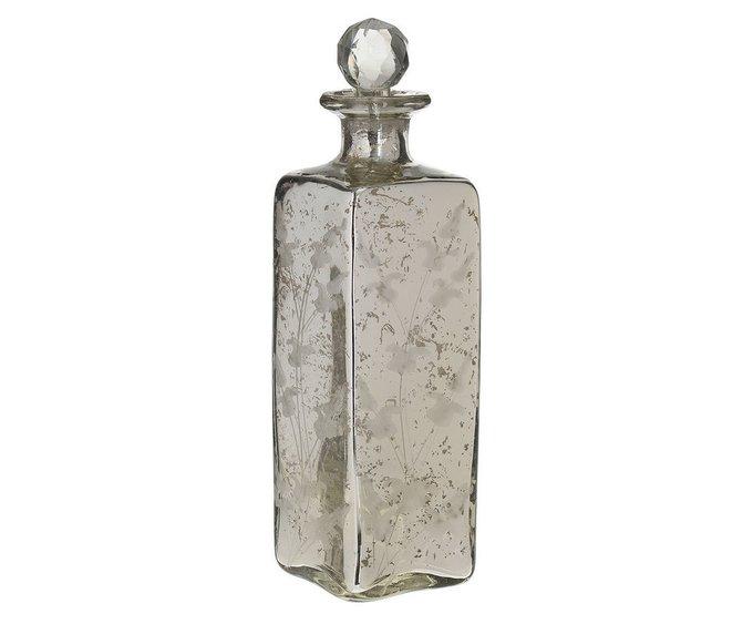 Стеклянная ваза серебряного цвета с крышкой