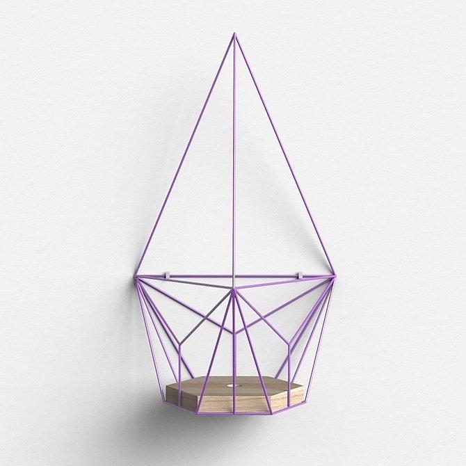 Подвесное кашпо Шаттл в фиолетовом цвете