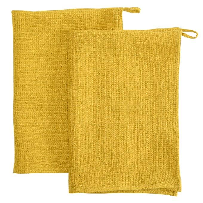 Вафельное кухонное полотенце из умягченного льна горчичного цвета Essential