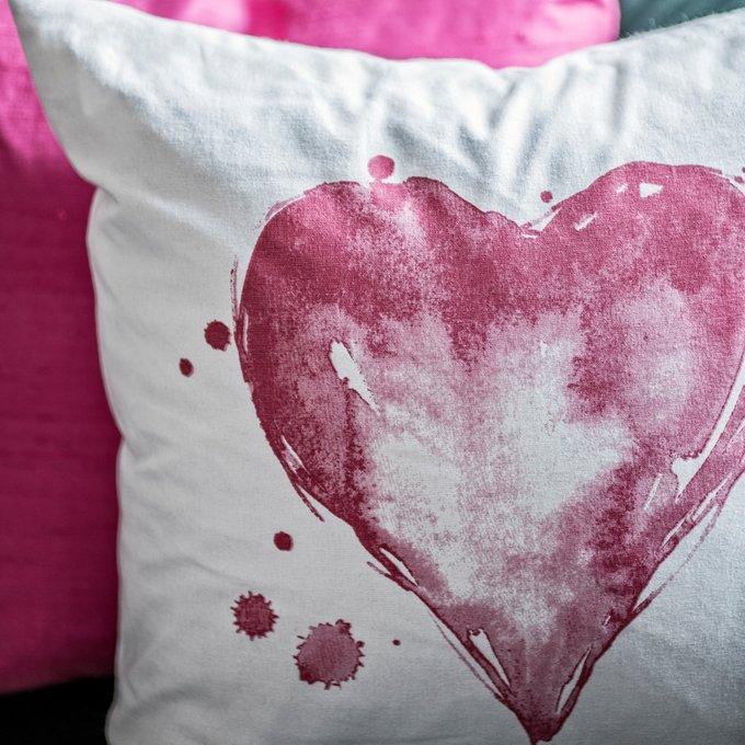 Декоративная подушка Amour с принтом в виде розового сердца