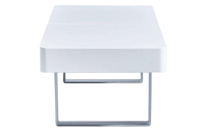 Журнальный раскладной стол белого цвета