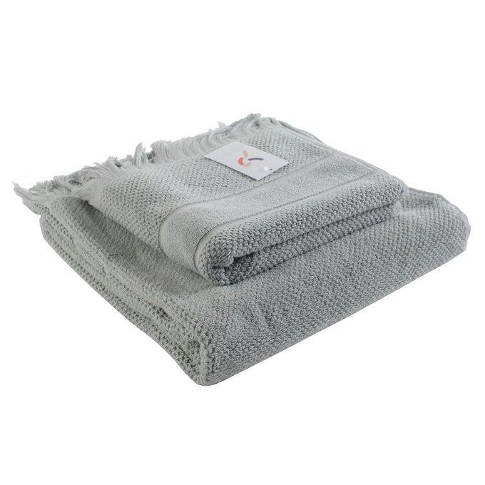 Полотенце для рук декоративное с бахромой серого цвета