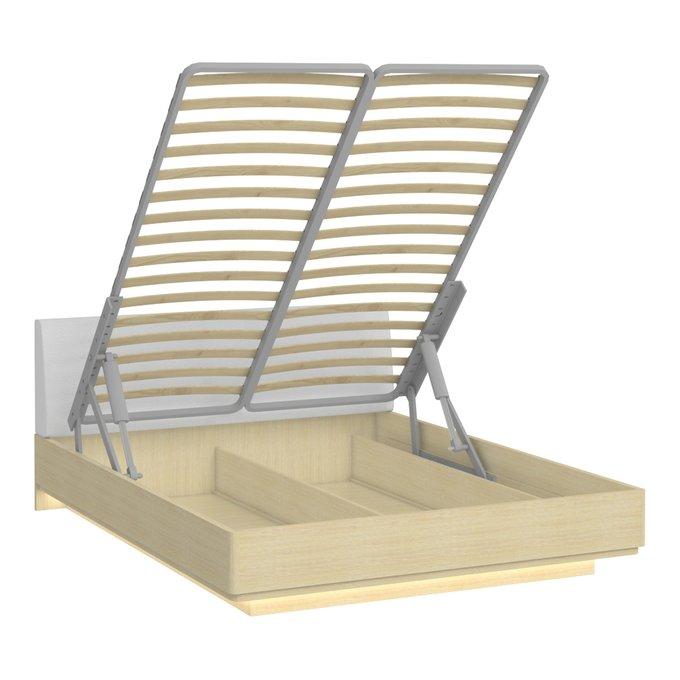 Кровать Элеонора 140х200 с изголовьем белого цвета и подъемным механизмом