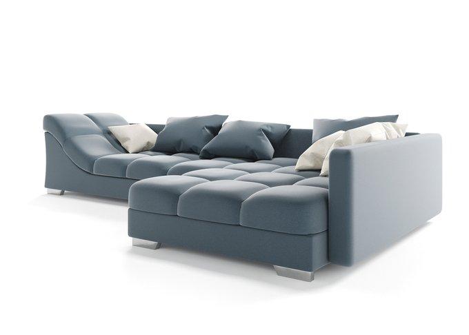 Угловой диван Аморро синего цвета