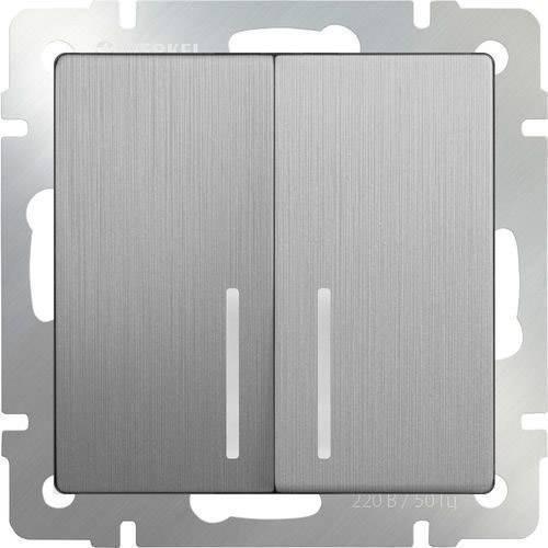 Выключатель двухклавишный с подсветкой серебряного цвета рифленый