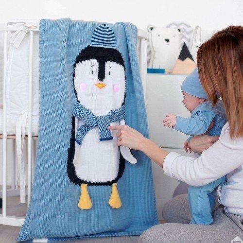 Плед Пингвин в голубой шапочке