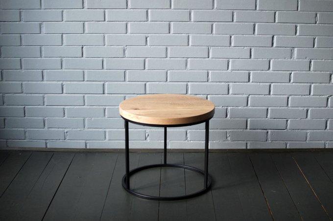 Журнальный стол O Black из массива дуба и металла