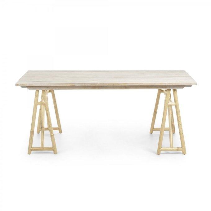 Обеденный стол Creassy из натурального дерева и ротанга