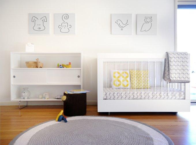 кроватка Roh Spot On Square белая c двух сторон акриловые панели