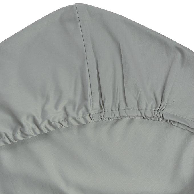 Простыня на резинке Essential из сатина светло-серого цвета 160х200