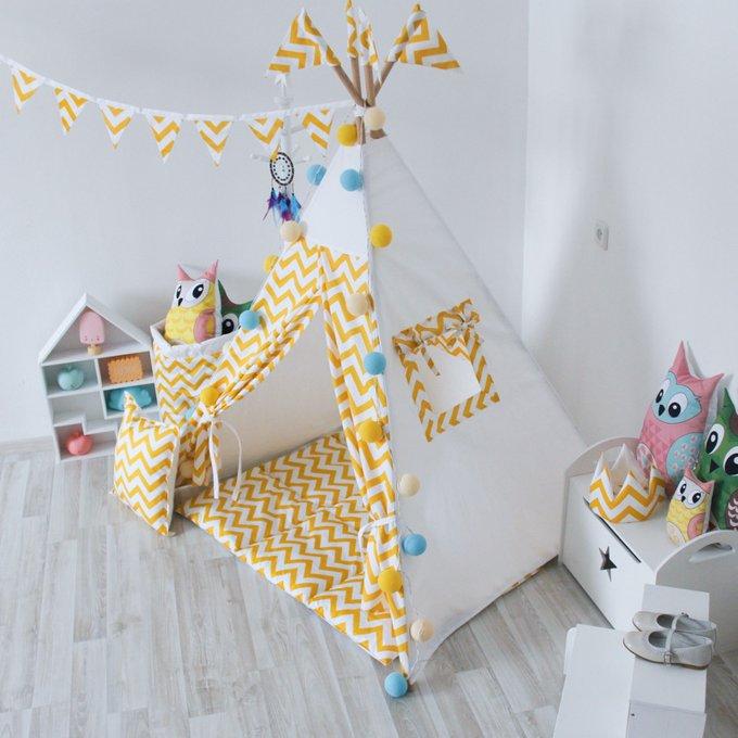 Стеганый игровой коврик Yellow Zigzag