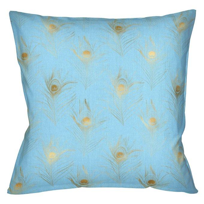 Интерьерная подушка Жар-Птица голубого цвета