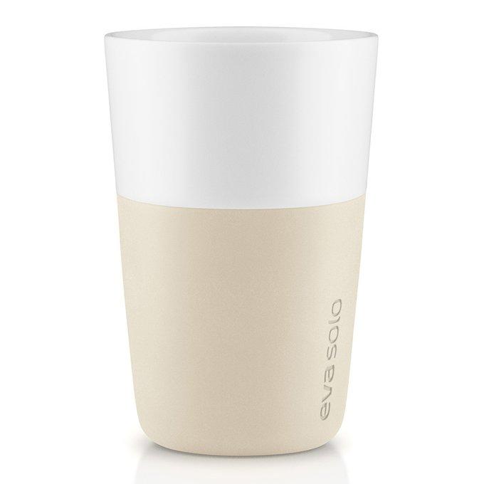 Набор из двух чашек для латте с силиконовым чехлом бежевых