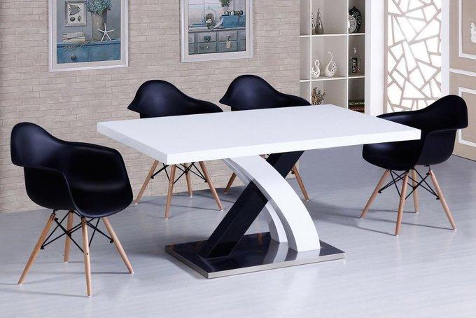 Прямоугольный обеденный стол с глянцевой поверхностью