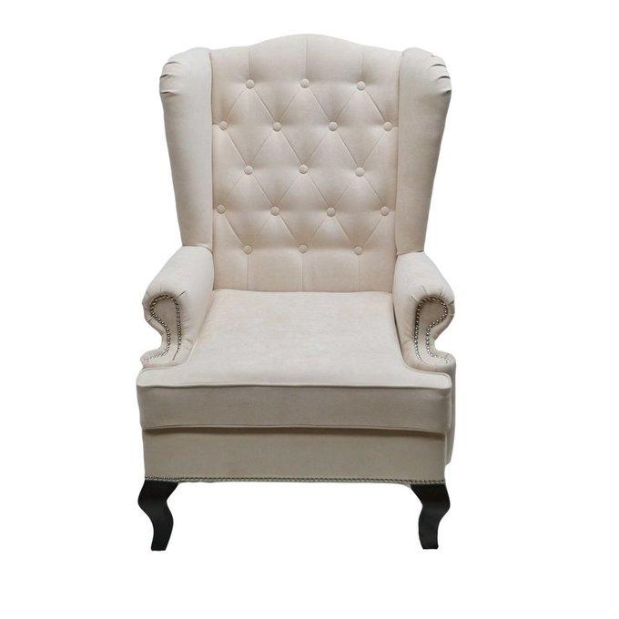 Каминное кресло с ушами Велюр Молочное