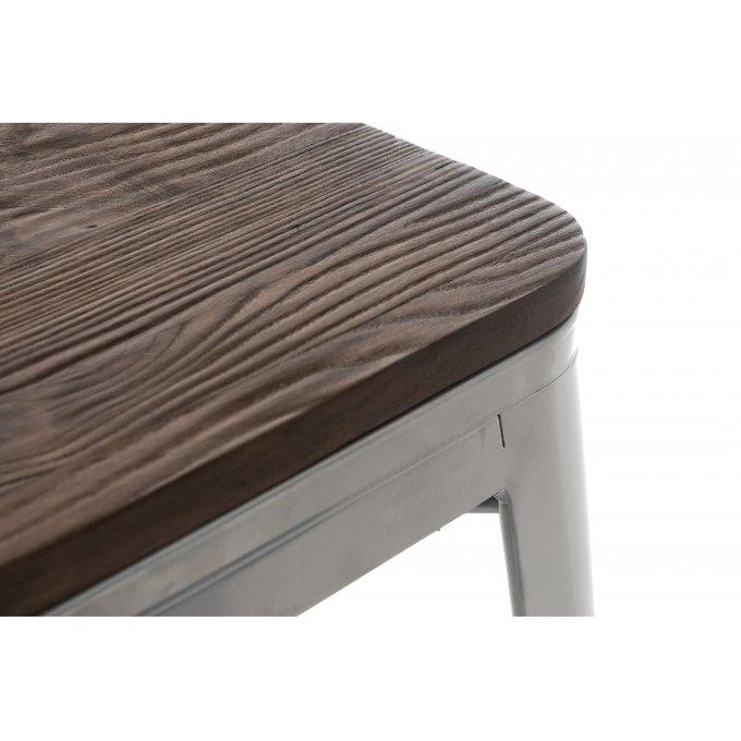Барный стул Tolix  brown walnut с сидением цвета орех
