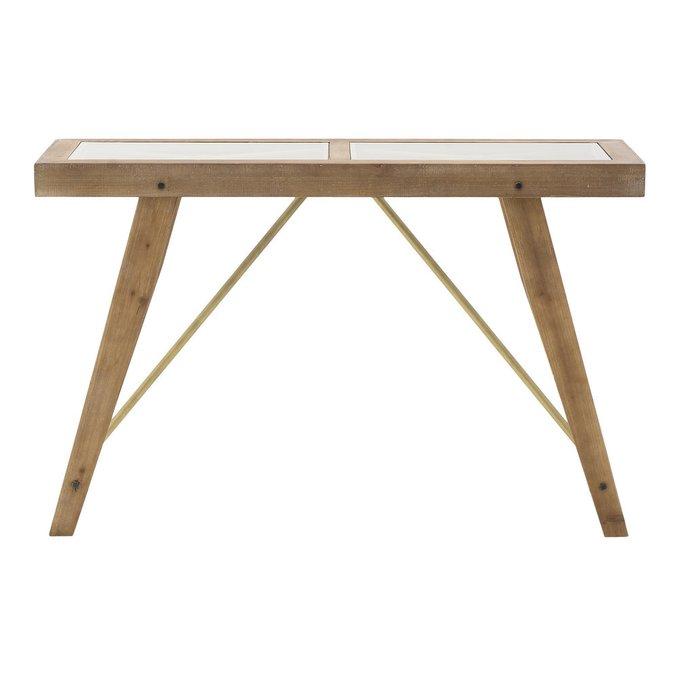 Стол-консоль из дерева и стекла