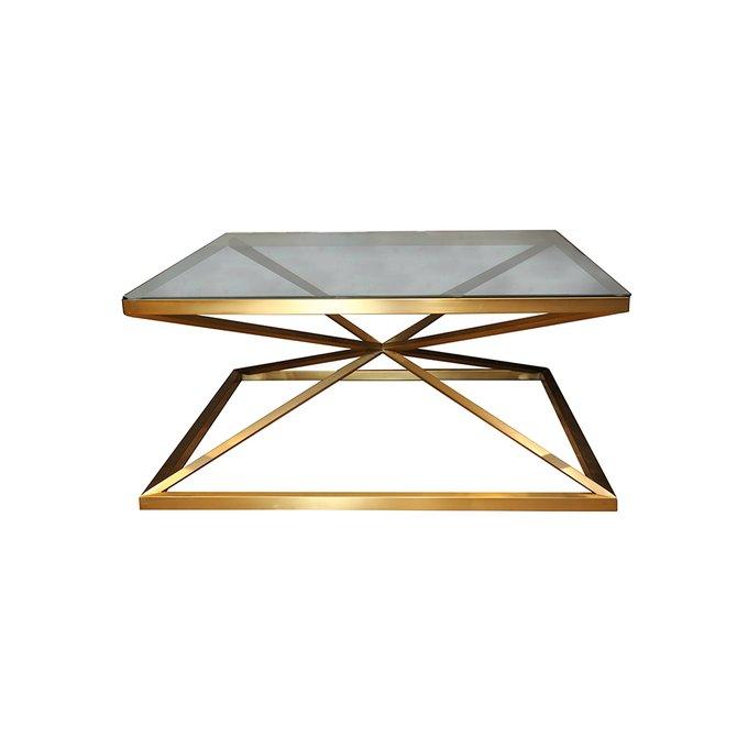 Стол кофейный матового золота