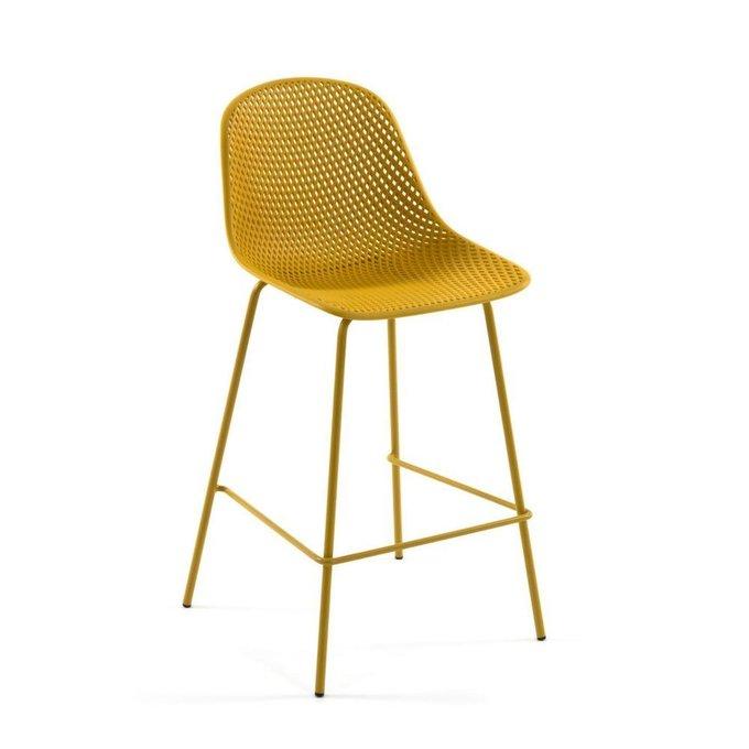 Полубарный стул Yellow Quinby stool height желтого цвета