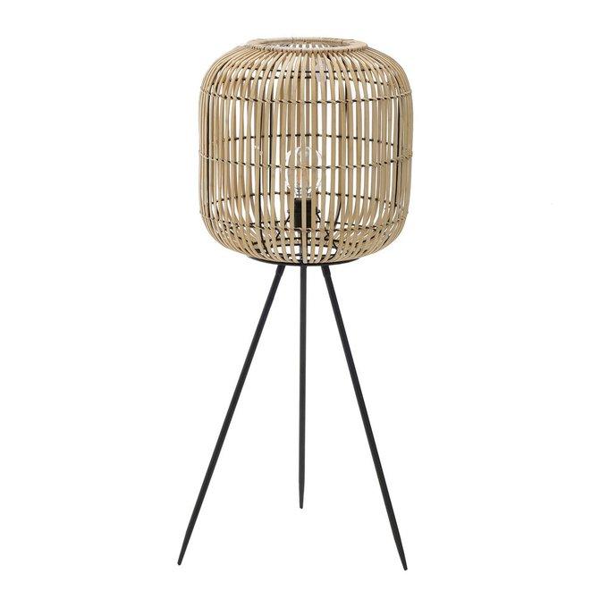 Напольная лампа с плафоном из бамбука