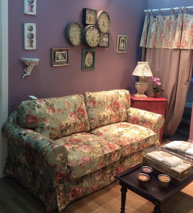 Трехместный диван-кровать Прованс с цветочным принтом