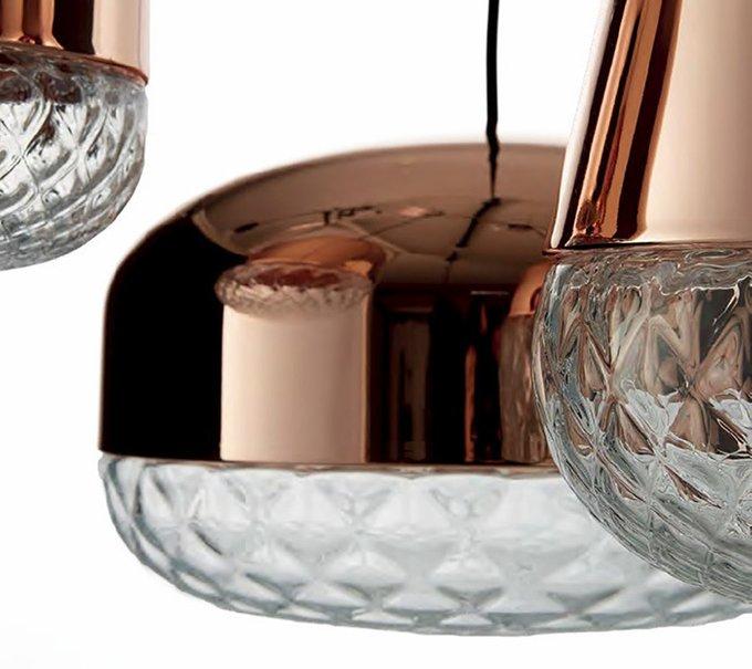 Подвесной светильник MM Lampadari из металла медного цвета с прозрачным стеклянным низом