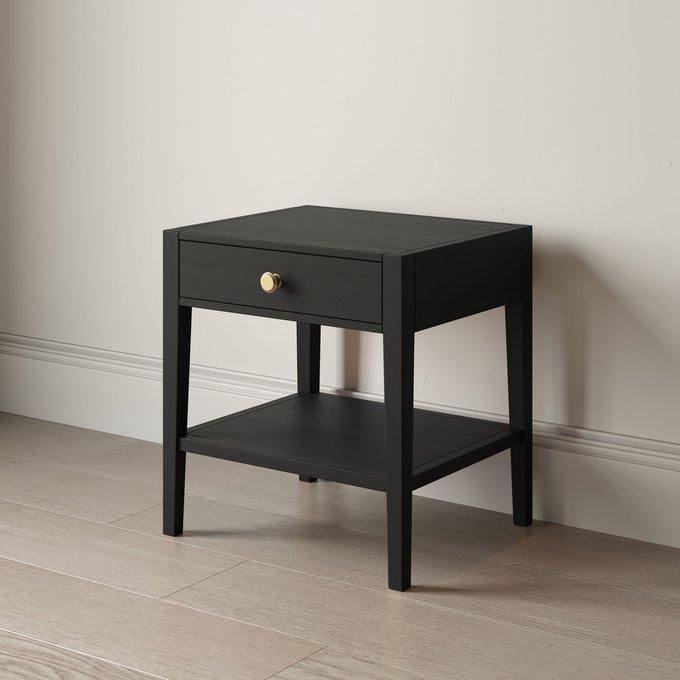Прикроватная тумба Prima с ящиком и полкой черного цвета