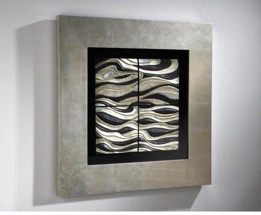 Квадратный барельеф Oleaje с покрытием из серебряной фольги