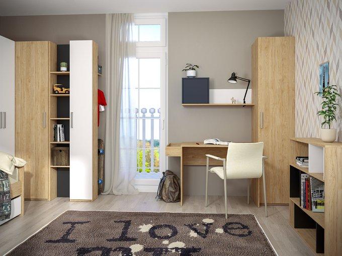 Шкаф комбинированный Гравити цвета гикори рокфорд натуральный/чёрный/белый премиум