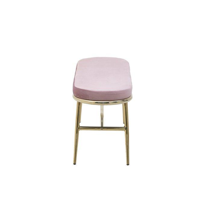 Банкетка розового цвета с металлическим основанием