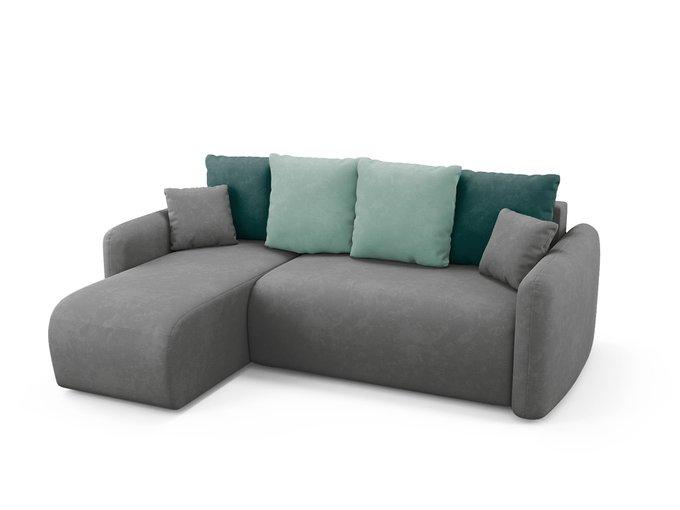 Угловой диван-кровать левый Arti серого цвета