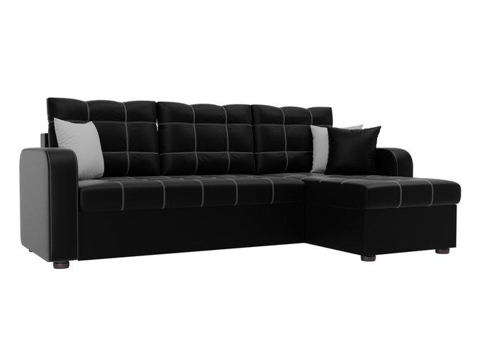 Угловой диван-кровать Ливерпуль  черного цвета (экокожа)