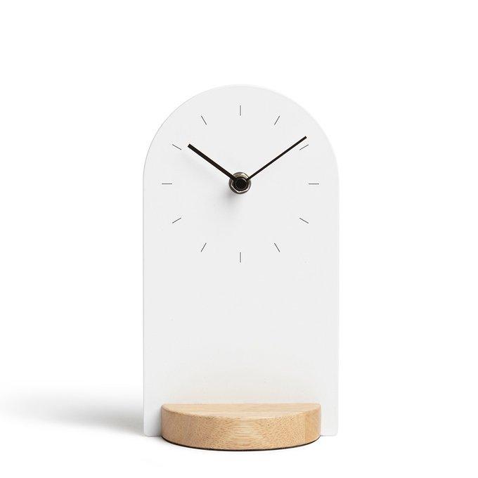 Часы настольные Umbra sometime белый/натуральное дерево