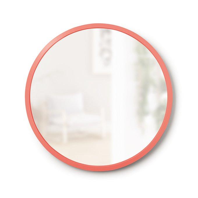 Зеркало настенное круглое Hub в раме кораллового цвета