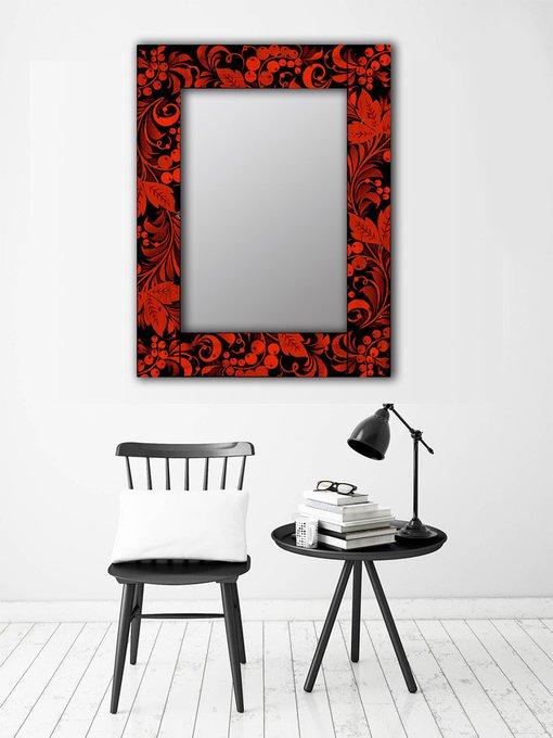 Настенное зеркало Калина в раме из массива сосны 80х80