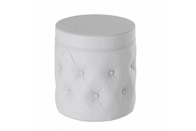 Белый пуф цилиндрической формы