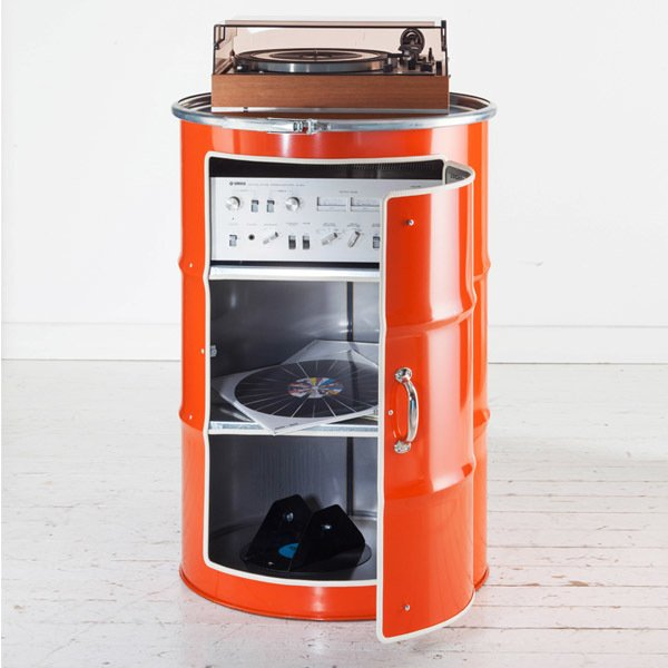 Бочка-шкаф с дверью и полками L оранжевого цвета