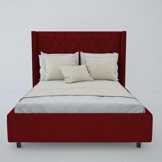 """Кровать с декоративными гвоздиками """"Wing"""" Велюр Красный 160x200"""