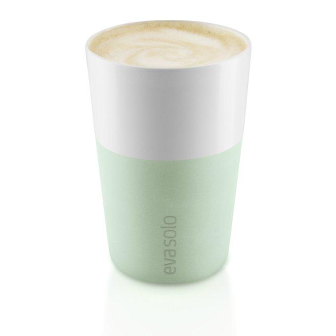 Набор из двух чашек для латте бело-зеленого цвета