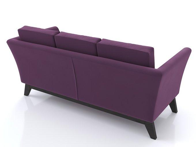 Диван Дублин с ножками из массива сосны и обивкой из фиолетового велюра