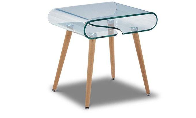 Журнальный столик со столешницей из гнутого стекла