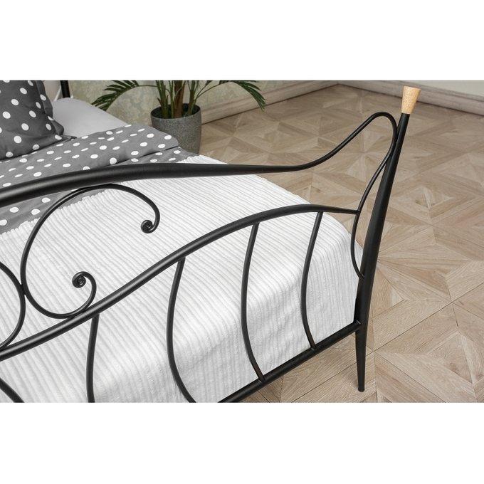 Кровать двуспальная Mila 160х200 черного цвета