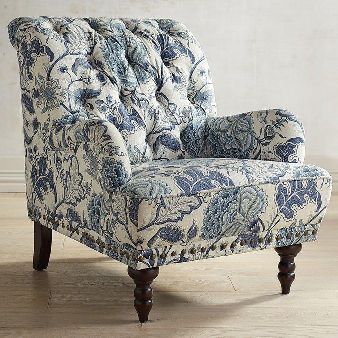 Кресло Richard в обивке из велюра бело-синего цвета