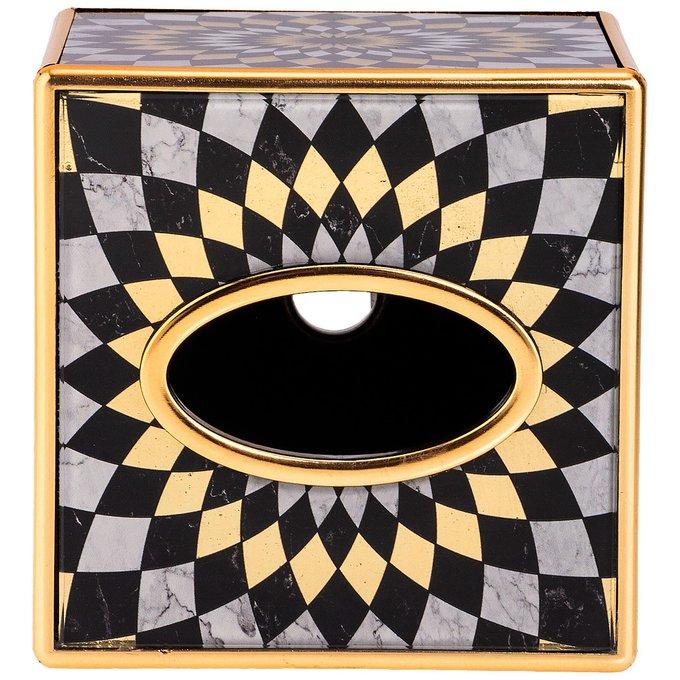 Шкатулка для салфеток Модерн цвета черный с золотым