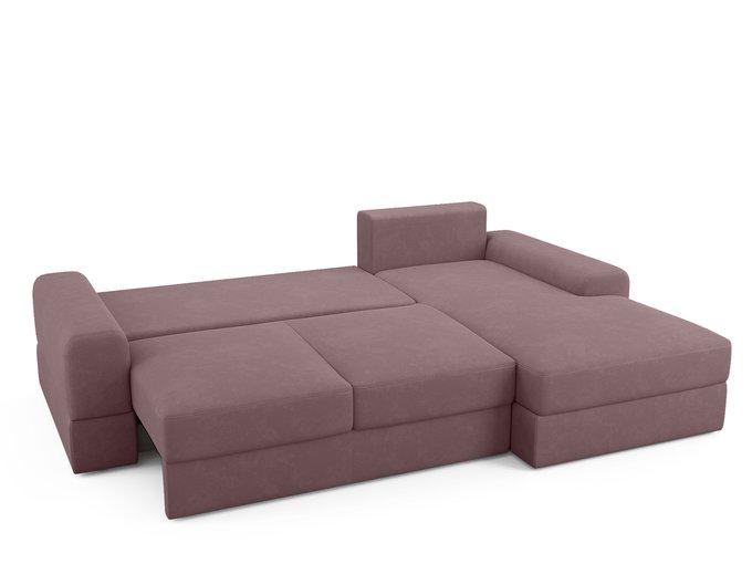 Угловой диван-кровать Elke темно-розового цвета