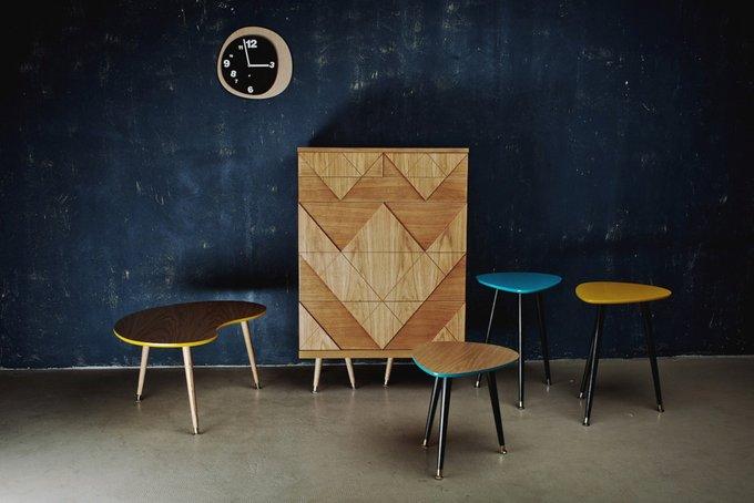 """Приставной  Столик WOODI """"Капля"""" из дерева с лимонно-горчичной столешницей"""