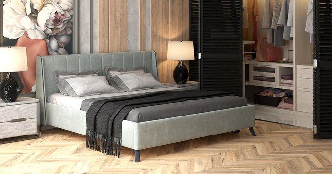 Кровать Мелисса 160х200 без подъемного механизма серебристо-серого цвета
