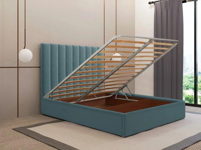 Кровать Параллель 140х200 цвет морской волны с подъемным механизмом